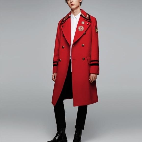 5f176691 Zara Jackets & Coats | Nwt Man Red Long Military Wool Coat | Poshmark